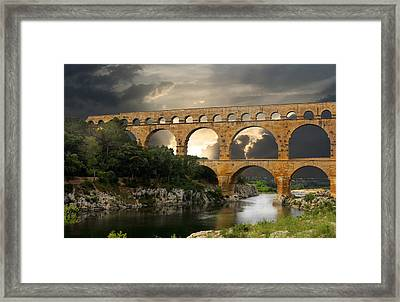 Roman Pont Du Gard Framed Print by Carver Kearney