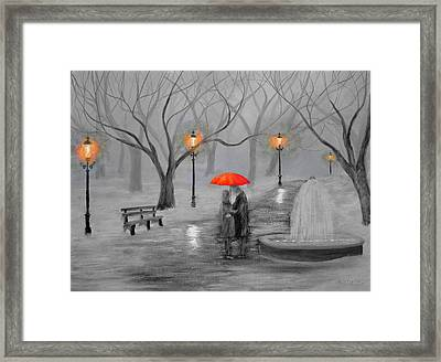 Romance In The Park Color Pop Framed Print by Ken Figurski
