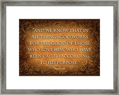 Romans 8-28 Framed Print by Shevon Johnson