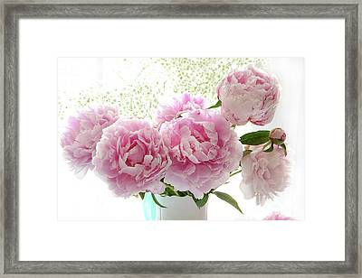 Romantic Dreamy Shabby Chic Cottage Pink Peonies Print - Peony Bouquet White Vase Framed Print by Kathy Fornal