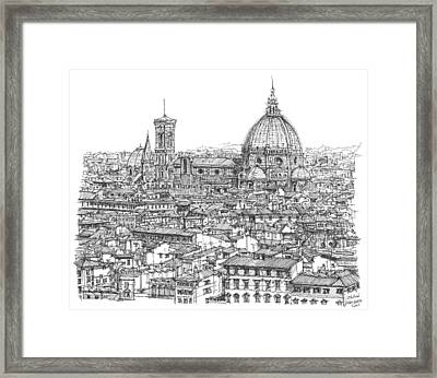 Romantic Florence Skyline In Ink Framed Print by Building  Art