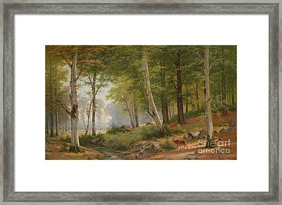 Romantic Landscape With Deer On The River Bank Framed Print by Celestial Images