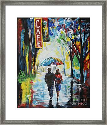 Romantic Night Out Framed Print by Leslie Allen