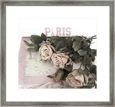 Romantic Pastel Paris Roses - Shabby Chic Paris Flowers Roses In Window Framed Print by Kathy Fornal