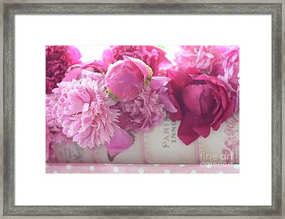 Romantic Pink Red Peonies - Shabby Chic Red Paris Pink Peonies Framed Print by Kathy Fornal