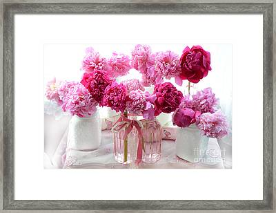 Romantic Pink Red Peonies - Shabby Chic Valentine Red Peonies  Framed Print by Kathy Fornal