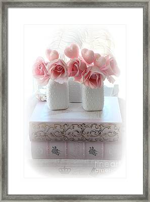 Romantic Pink Shabby Chic Roses Pink Books Hearts Valentine Decor  Framed Print by Kathy Fornal
