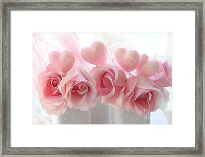 Romantic Pink Shabby Chic Valentine Hearts And Roses - Valentine Roses Pink And White Hearts Decor Framed Print by Kathy Fornal