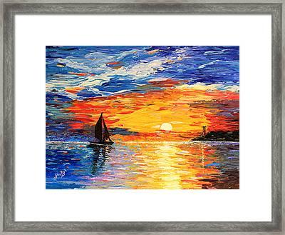 Romantic Sea Sunset Framed Print by Georgeta  Blanaru