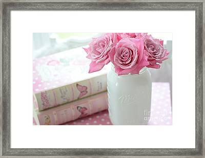 Romantic Shabby Chic Pink And White Roses - Pink Roses In White Mason Jar Framed Print by Kathy Fornal