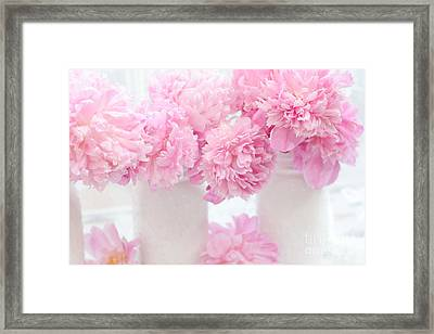Romantic Shabby Chic Pink Pastel Peonies - Pink Peonies In White Mason Jars Framed Print by Kathy Fornal
