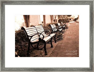 Romantic Surreal Park Bench Pink Sepia Tones Framed Print by Kathy Fornal