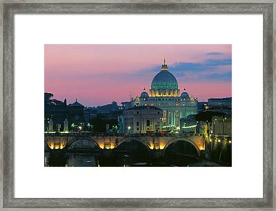 Rome At Night With A View Of Saint Peters Basilica Framed Print by Italian School