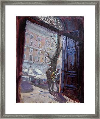 Rome, Flowers For My Valentine Framed Print by Ylli Haruni