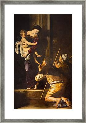 Rome - Madonna Of Loreto And Pilgrims By Caravaggio  Framed Print by Jozef Sedmak
