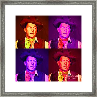 Ronald Reagan The New Marshal Is In Town 20151229 Four Square Framed Print by Wingsdomain Art and Photography
