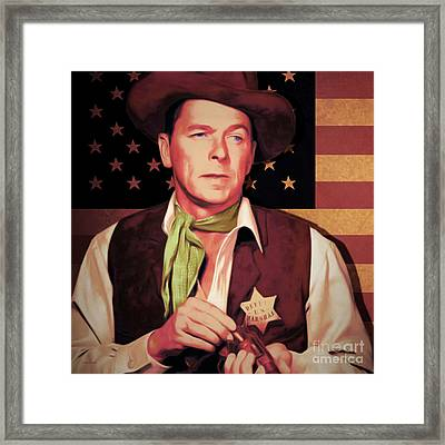 Ronald Reagan The New Marshal Is In Town 20151229v2 Square Framed Print by Wingsdomain Art and Photography