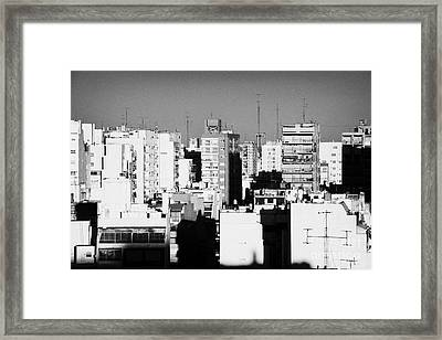 Rooftops And Apartment Blocks In The Evening Buenos Aires Skyline Argentina Framed Print by Joe Fox