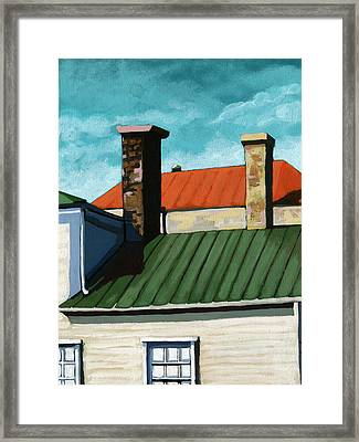 Rooftops City Houses Painting Framed Print by Linda Apple