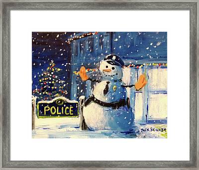 Rookie Working Christmas Eve Framed Print by Jack Skinner