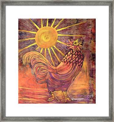 Rooster Batik Framed Print by Caroline Street
