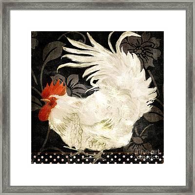 Rooster Damask Dark Framed Print by Mindy Sommers