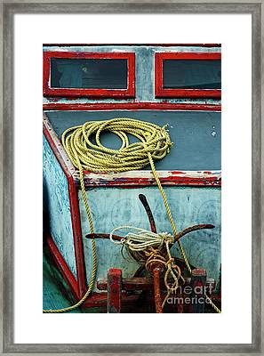 Ropes And Rusty Anchors On A Boat Deck Framed Print by Sami Sarkis