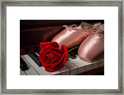 Rose And Ballet Shoes Framed Print by Garry Gay