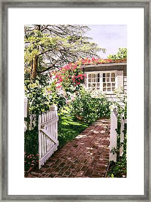 Rose Cottage Gate Framed Print by David Lloyd Glover