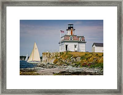 Rose Island Light Framed Print by Susan Cole Kelly