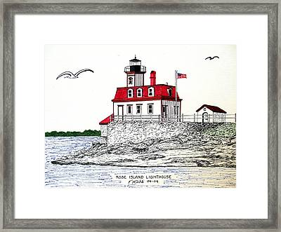 Rose Island Lighthouse Framed Print by Frederic Kohli