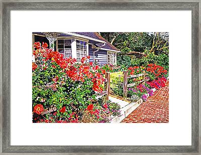 Rose Ranch House - Bel-air Framed Print by David Lloyd Glover
