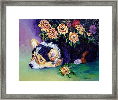 Roses - Pembroke Welsh Corgi Framed Print by Lyn Cook