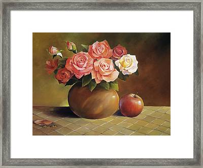 Roses And Apple Framed Print by Han Choi - Printscapes