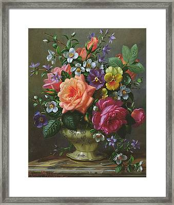 Roses And Pansies Framed Print by Albert Williams