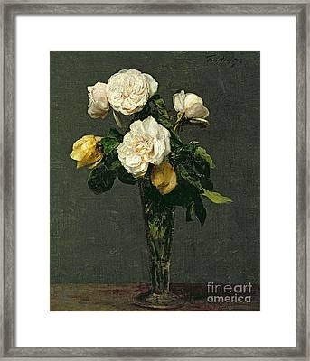 Roses In A Champagne Flute Framed Print by Ignace Henri Jean Fantin-Latour