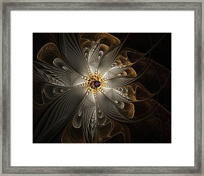 Rosette In Gold And Silver Framed Print by Amanda Moore