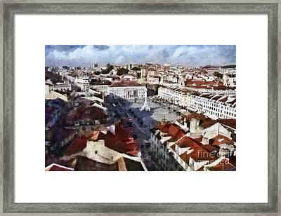 Rossio Square Framed Print by Dariusz Gudowicz