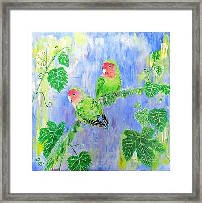 Rosy Faced Lovebirds Framed Print by Cindy Bonkewitzz