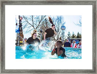Rotc Participating In The Polar Plunge Framed Print by William Wight