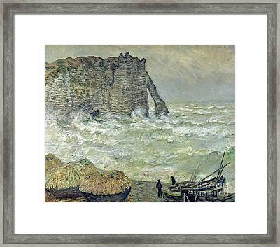 Rough Sea At Etretat Framed Print by Claude Monet