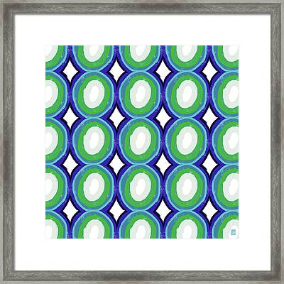 Round And Round Blue And Green- Art By Linda Woods Framed Print by Linda Woods