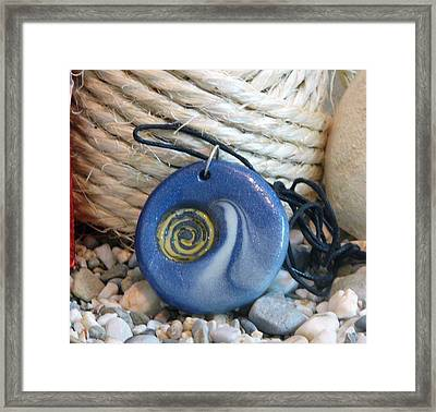 Round Blue Pendant With Spiral Framed Print by Chara Giakoumaki
