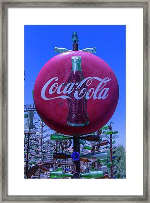 Round Coca Cola Sign Framed Print by Garry Gay