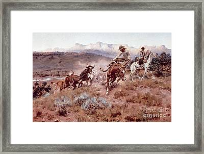 Round Up On The Musselshell  Framed Print by Charles Marion Russell