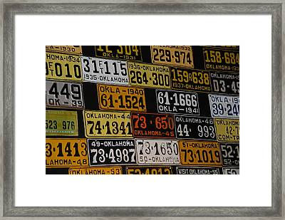 Route 66 Oklahoma Car Tags Framed Print by Susanne Van Hulst