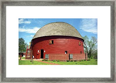 Route 66 - Round Barn Framed Print by Frank Romeo