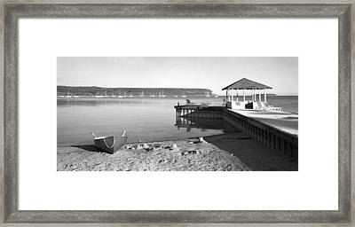 Row Boat And Dock At Ephriam Framed Print by Stephen Mack