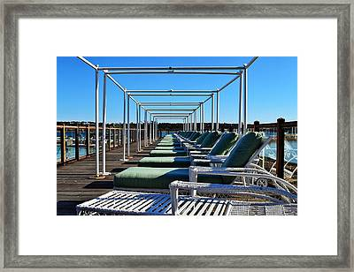 Row Of Beach Chairs Framed Print by Alex Schindel