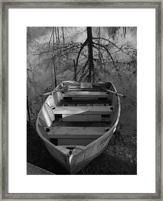Rowboat And Tree Framed Print by Michael L Kimble